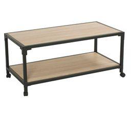 MAELIE Table basse fixe Chêne/noir