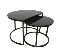 MAONI Table basse gigogne Noir/ imitation marbre
