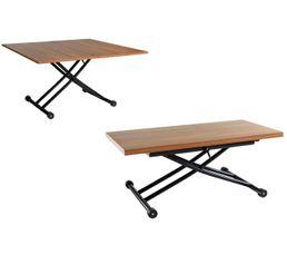 LILIAN Table 2 en 1 relevable Noyer et noir