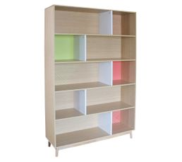 Bibliothèque FLODEN PARENTHESE Chêne/orange/vert
