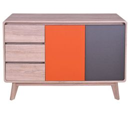 buffet vintage charleston ch ne gris et orange buffets but. Black Bedroom Furniture Sets. Home Design Ideas
