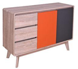 Pratique, il dispose de 4 compartiments de rangement et 3 tiroirs On aime : ses portes colorées : orange et grise Envie d'un look retro et tendance ? Le buffet CHARLESTON est fait pour vous Dispo pcs détachées donnée fournisseur : NC Structure : Panneaux