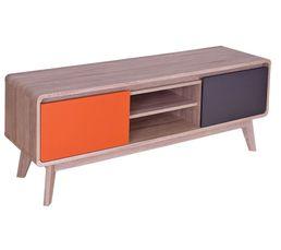 Meuble TV vintage CHARLESTON Chêne, gris et orange