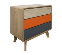 Commode 3 tiroirs CHARLESTON Coloris orange