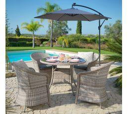 Salon de jardin table+fauteuil WEAKER Résine tressée marron ...