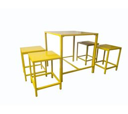 Table + 4 tabourets FIVE Jaune