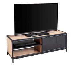 Meuble TV industriel OSKAR Noir/chêne