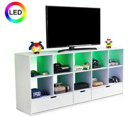Meuble TV gamer LED RETROGAMER Blanc laqué