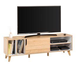 Meuble TV scandinave SERENA Chêne et blanc