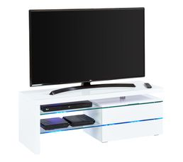 Meuble TV avec led intégrée Sky 3 Blanc laqué