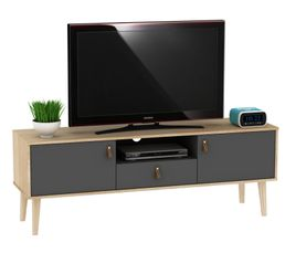 208c3de90cc69 Meuble TV vintage ROLLAND Imitation chêne et gris foncé