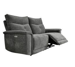 Canapé relax 3 places 2 moteurs ADAM tissu gris foncé