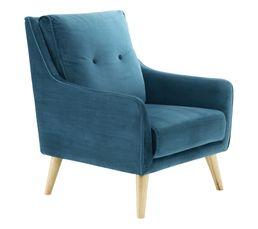 Fauteuil LAURANNE tissu bleu vert