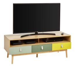 Meuble TV 3 tiroirs FLODEN imitation chêne, imprimés