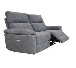 Canapé 3 places 2 relax électriques ORION tissu gris foncé