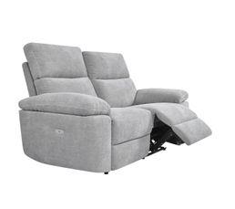 Canapé 2 places 2 relax électriques ORION tissu gris clair