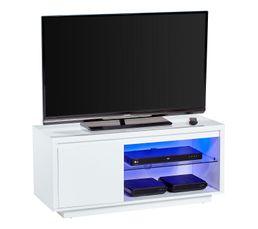 Meuble TV avec leds SACHA blanc laqué