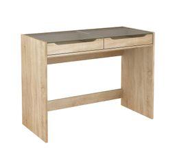 Bureau 2 tiroirs CREA Imitation chêne et verre