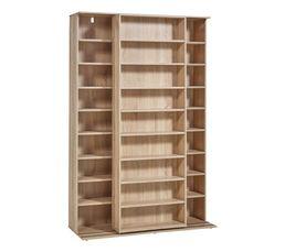Bibliothèque coulissante à étagères modulables BENTO Imitation bois