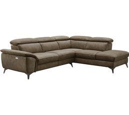 Canapé d'angle 5 places Marron Tissu Contemporain Confort