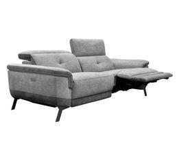 Canapé 3 places 2 relax électriques STYLSON tissu gris clair