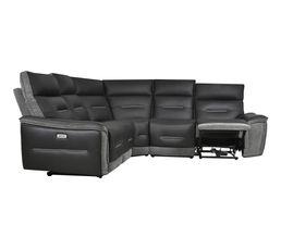 Canapé d'angle relax électrique HEAVEN cuir noir tissu gris foncé