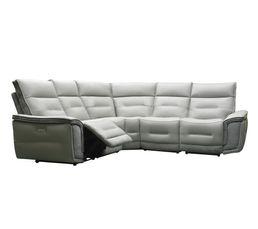 Canapé d'angle relax électrique HEAVEN cuir gris clair tissu métal