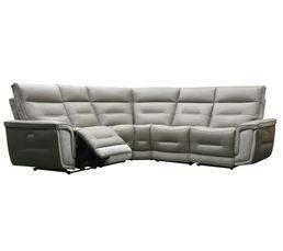 Canapé d'angle relax électrique HEAVEN cuir taupe tissu gris