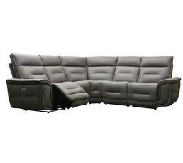 Canapé d'angle relax électrique HEAVEN cuir et tissu marron