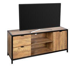 Meuble TV EVERGREEN Imitation chêne et noir