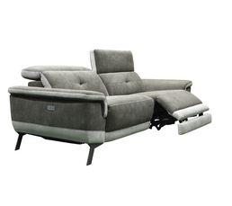 Canapé 3 places relax électrique STYLSON tissu marron glacé et beige
