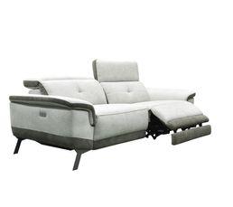 Canapé 3 places relax électrique STYLSON tissu beige et marron glacé
