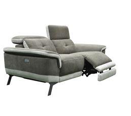 Canapé 2 places relax électrique STYLSON tissu marron et beige