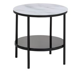 Table basse ronde MARBELA noir/ blanc