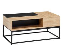 Table basse rectangulaire Vincente imitation chêne sonoma/ noir