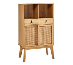 Buffet haut 2 portes/ 2 niches MALANG naturel
