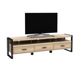 Meuble TV style industriel PARKER 170 cm Imitation chêne et...