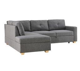 Canapé d'angle gauche convertible ATHOS Tissu gris clair
