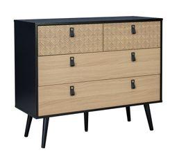 Commode 2 tiroirs + 2 tiroirs LIBORG NOMAD Noir et imitation chêne avec imprimé