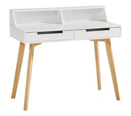 Bureau 2 tiroirs SNOW laqué blanc