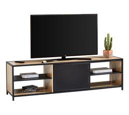 Long meuble TV L.180 OSKAR Imitation chêne sonoma/ noir