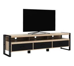 Meuble TV style industriel PARKER 170cm Imitation chêne 3T noir