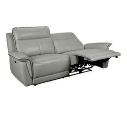 canapé 3 places 2 relax électriques SUNDY cuir et PU gris clair