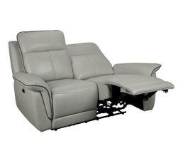 canapé 2 places 2 relax électriques SUNDY cuir et PU gris clair