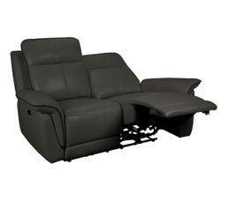 canapé 2 places 2 relax électriques SUNDY cuir et PU gris foncé