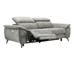 Canapé 3 places relax électrique NEWPORT tissu gris clair