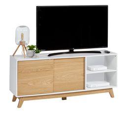 Meuble TV CLEO imitation chêne/ blanc