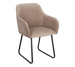 Fauteuil velours ADONIS taupe