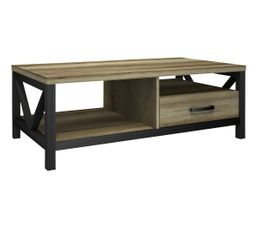 Table basse ROBBIE Imitation chêne et noir