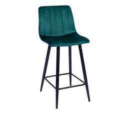 Tabouret de bar H66 cm VELUTTO Velours vert